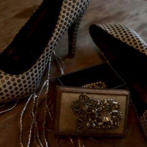 ⚡️SALE⚡️Tan & Brown Polka Dot Heels